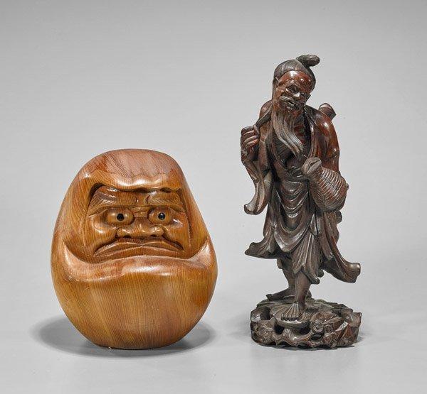 Two Wood Carvings: Bearded Man & Daruma