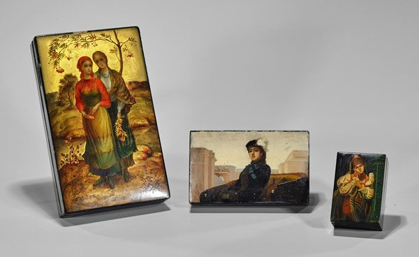 Three Russian Painted Lacquer Boxes