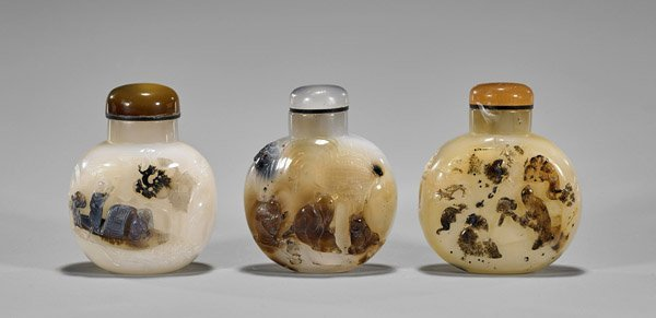 Three Carved Shadow Agate Snuff Bottles