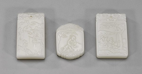 Three Chinese Celadon Glass Plaques
