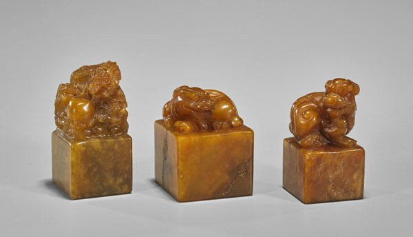 Three Chinese Carved Sealstone Seals