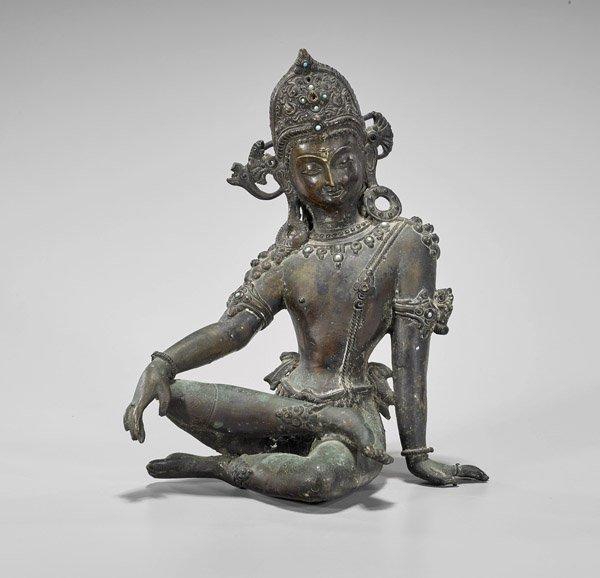 Old Sino-Tibetan Seated Bronze Bodhisattva