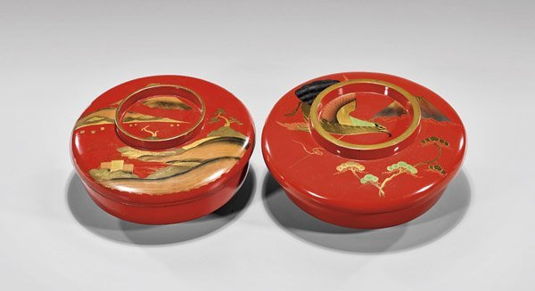 Two Antique Japanese Red Lacquer Covered Bowls