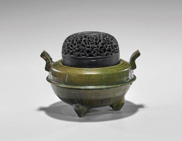 Han Dynasty Green Glazed Tripod Censer