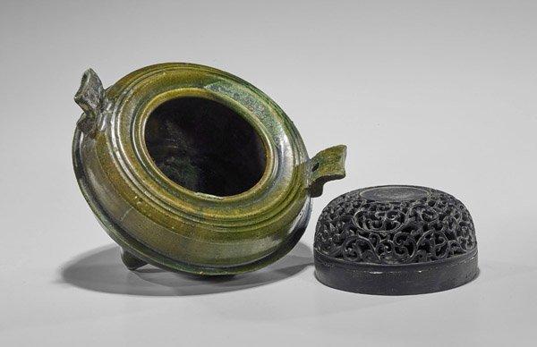 Han Dynasty Green Glazed Tripod Censer - 2