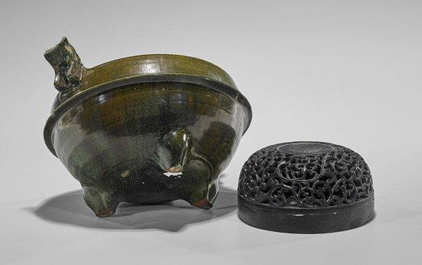 Han Dynasty Green Glazed Tripod Censer - 3