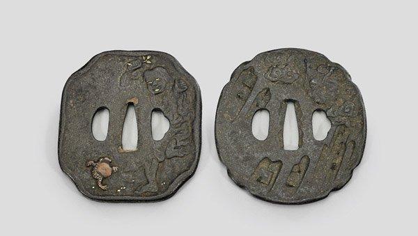 Two Antique Japanese Iron Tsuba
