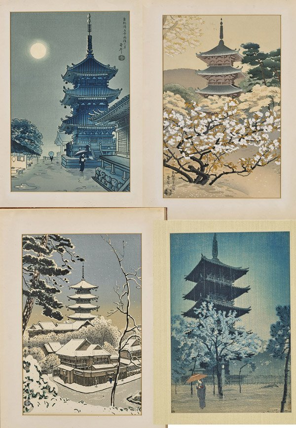 Fourteen Framed Japanese Woodblock Prints