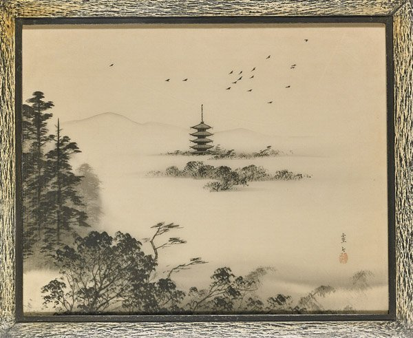 Fourteen Framed Japanese Woodblock Prints - 7