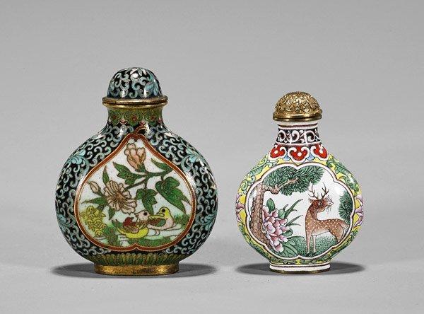 Two Snuff Bottles: Copper & Cloisonne