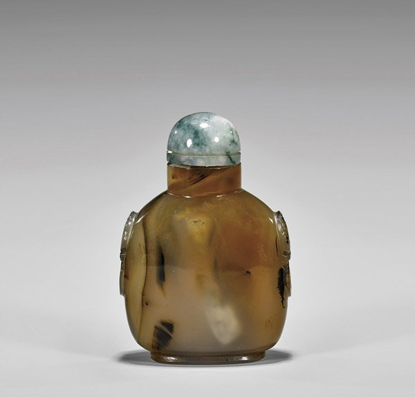 Large Antique Chalcedony Agate Snuff Bottle