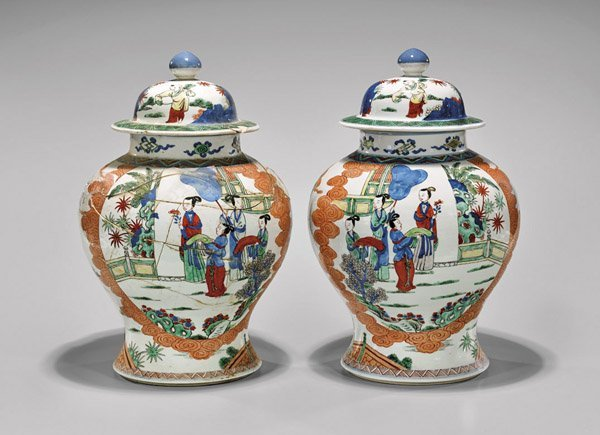 Pair Antique Famille Verte Porcelain Covered Jars
