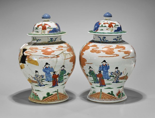 Pair Antique Famille Verte Porcelain Covered Jars - 2