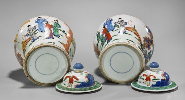 Pair Antique Famille Verte Porcelain Covered Jars - 3