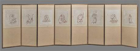 Chinese 8-Panel Paper Screen: Lohans
