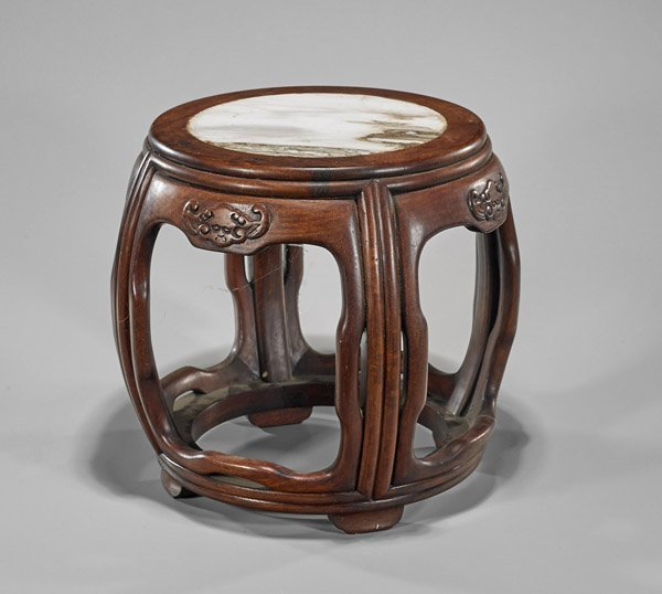 Chinese Rosewood & Marble Inset Stool