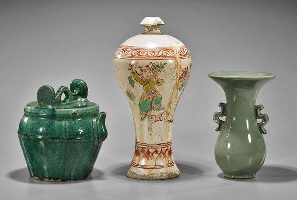 Three Chinese Vases: Beaker, Meiping & Ewer