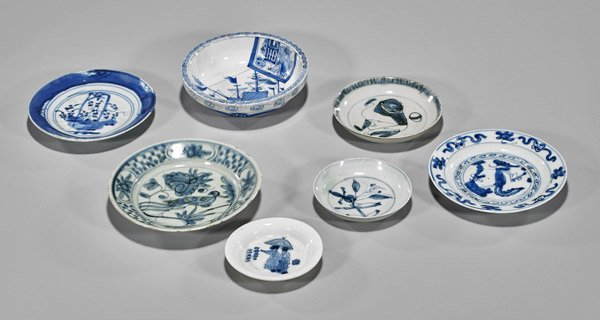 Seven Old & Antique Chinese Blue & White Dishes