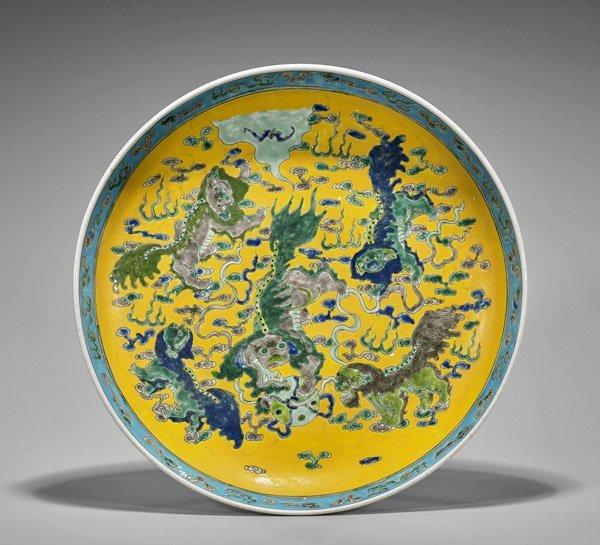 Kangxi-Style Enameled Porcelain Charger