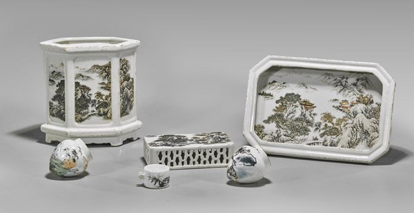 Six Chinese Porcelain Vessels: Scholars & Birdfeeders