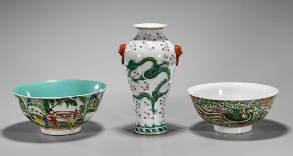 Three Chinese Porcelains: Bowls & Vase