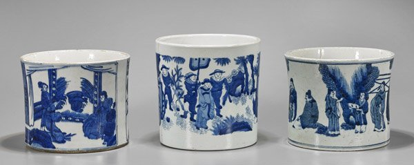 Three Large Chinese Blue & White Brushpots