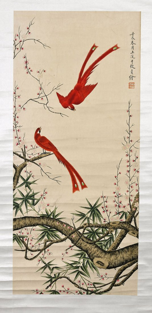 Two Chinese Paper Scrolls: Birds - 3