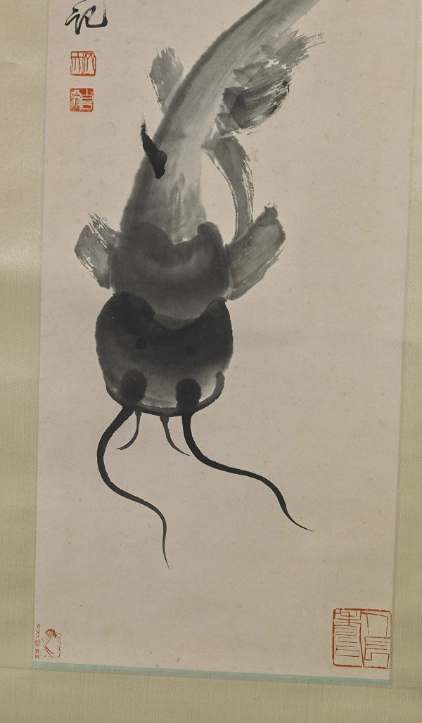 Two Chinese Paper Scrolls: Catfish & Trout - 2
