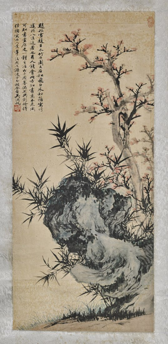 Two Chinese Paper Scrolls: Flowers & Mountain