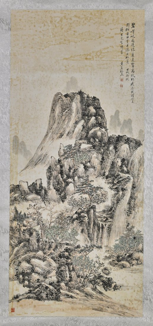 Two Chinese Paper Scrolls: Flowers & Mountain - 3