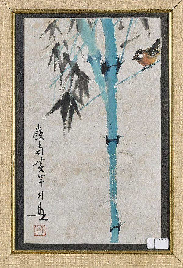 Two Chinese Paper Paintings: Lotus & Bamboo