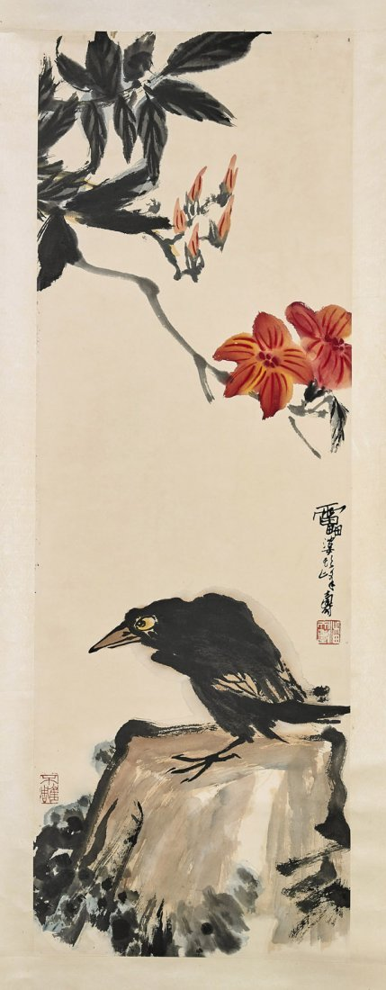 Two Chinese Paper Scrolls: Raven & Birds