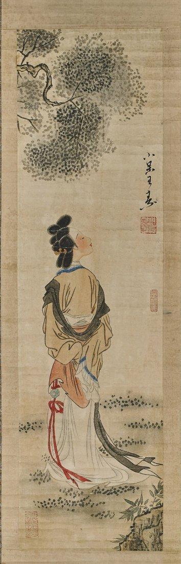 Two Chinese Paper Scrolls: Water Buffalo & Beauty