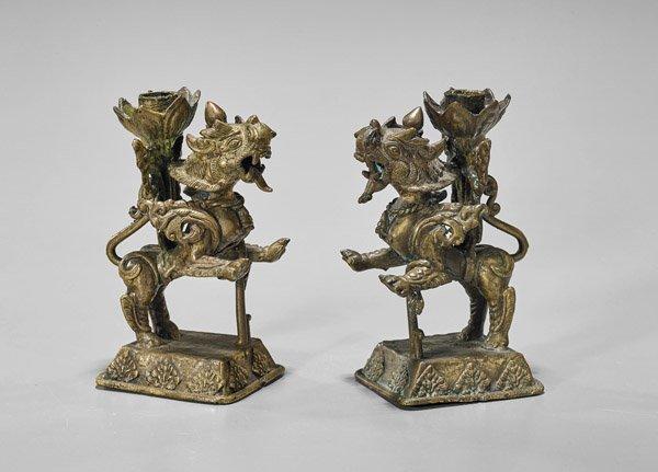 Pair Antique Thai Bronze Lion Candleholders