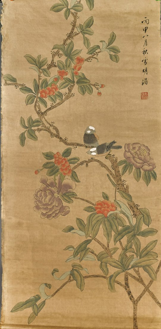 Three Chinese Paper Scrolls: Flowers & Birds