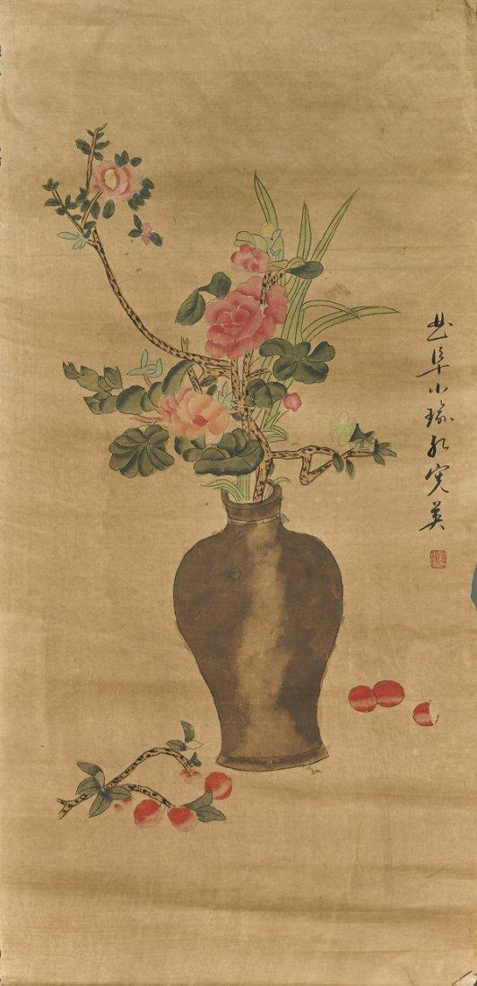 Three Chinese Paper Scrolls: Flowers - 3