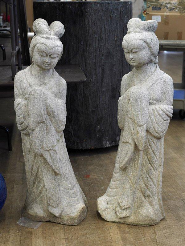 Pair Chinese Carved Stone Ladies