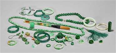 Collection of Jadeite, Glass and Stone Items