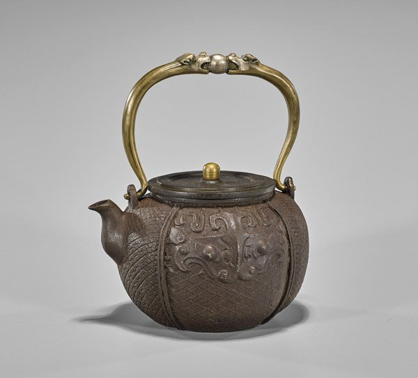 Chinese Iron Teapot & Bronze Handle