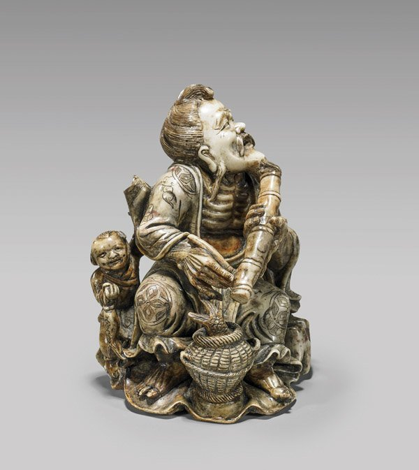 CARVED SOAPSTONE GROUP: Sage & Child