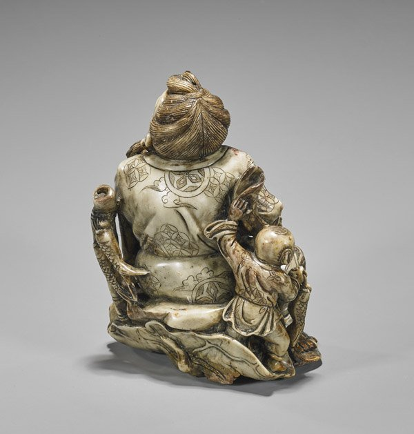 CARVED SOAPSTONE GROUP: Sage & Child - 3