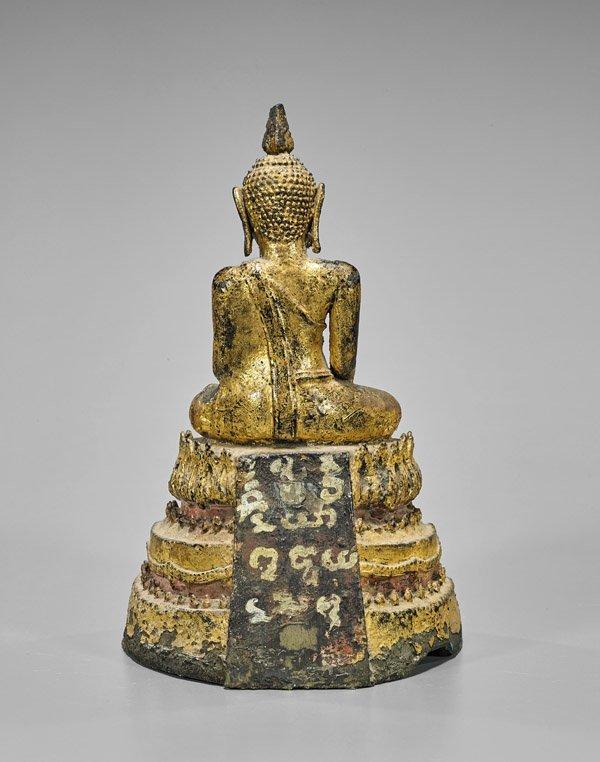 ANTIQUE THAI GILT BRONZE BUDDHA - 2