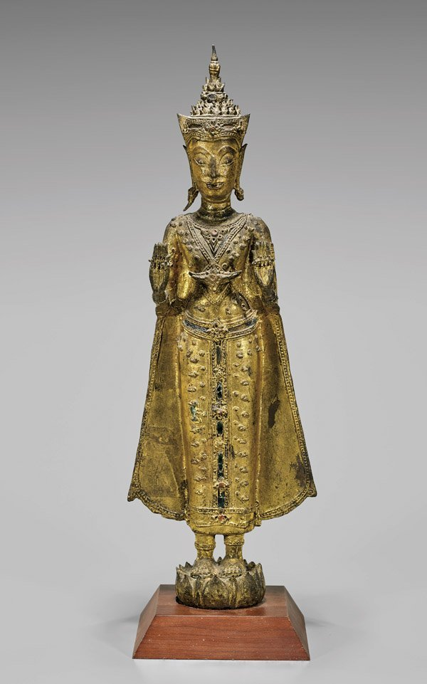 ANTIQUE BURMESE GILT BRONZE BUDDHA