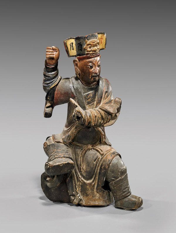 ANTIQUE CHINESE CARVED WOOD DEITY
