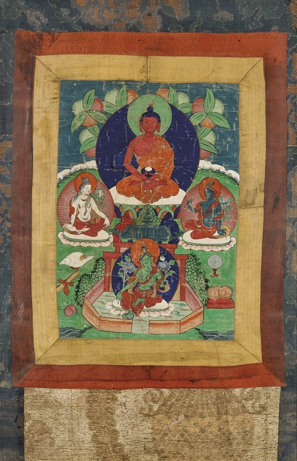 ANTIQUE SINO-TIBETAN PAINTED THANGKA