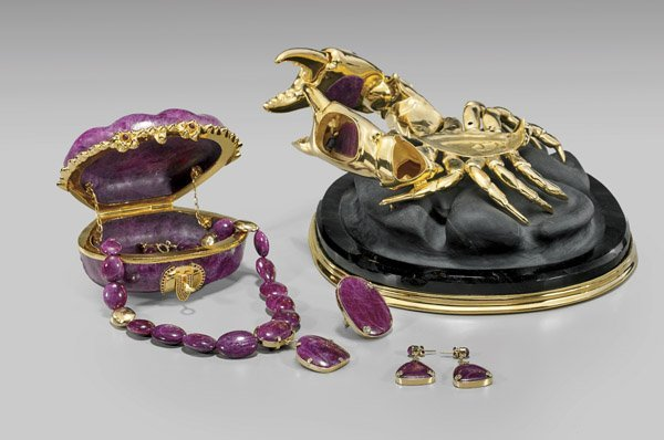 MAGNIFICENT RUBY CRAB WITH JEWELRY SUITE - 3