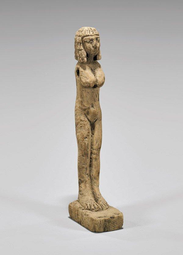 EGYPTIAN CARVED WOOD FEMALE FIGURE