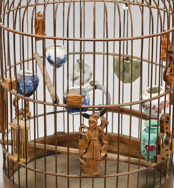 ANTIQUE CHINESE BAMBOO BIRD CAGE - 2
