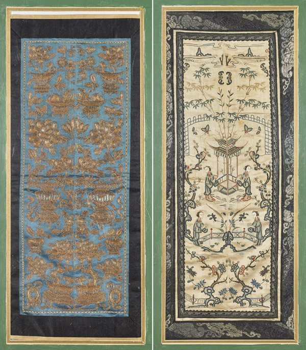 TWO ANTIQUE CHINESE SILK TEXTILES