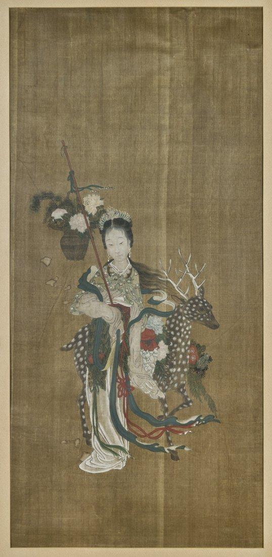OLD CHINESE SILK PAINTING: Goddess & Deer